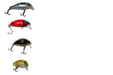 Spinning lures. Ultralight lures. Bait the Predator. Isolated. On white background.