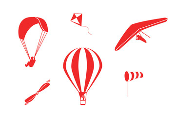 Set of vector icons hot air balloon, paragliding, hang-gliding, windsock, propeller and kite in red color isolated