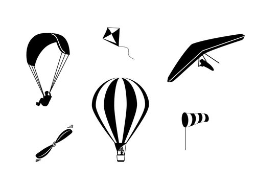 Set of vector icons hot air balloon, paragliding, hang-gliding, windsock, propeller and kite in black color isolated