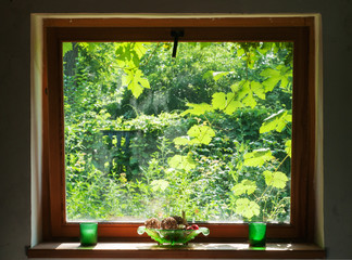 A view on a sunny day from a wooden square window into a green garden with grape leaves, a piece of blue fence and lots of trees, on the windowsill there are a green glass vase and two candlesticks