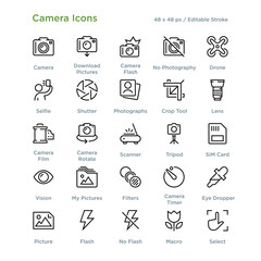 Camera Icons - Outline styled icons, designed to 48 x 48 pixel grid. Editable stroke.