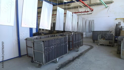 Automatic powder coating line  Powder coating of metal parts  Powder