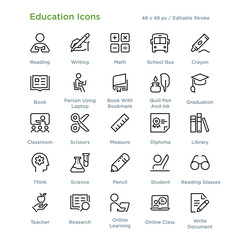 Education Icons - Outline styled icons, designed to 48 x 48 pixel grid. Editable stroke.
