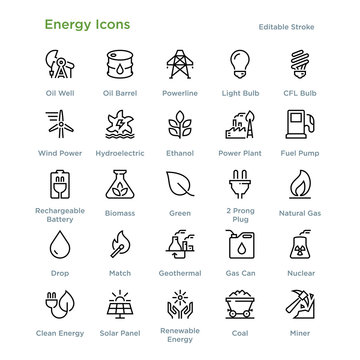 Energy Icons - Outline styled icons, designed to 48 x 48 pixel grid. Editable stroke.