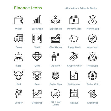 Finance Icons - Outline styled icons, designed to 48 x 48 pixel grid. Editable stroke.