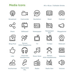 Media Icons - Outline styled icons, designed to 48 x 48 pixel grid. Editable stroke.