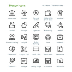 Money Icons - Outline styled icons, designed to 48 x 48 pixel grid. Editable stroke.