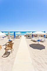 Lido Venere, Apulia - Sunshades at the beautiful beach of Lido Venere