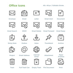 Office Icons - Outline styled icons, designed to 48 x 48 pixel grid. Editable stroke.