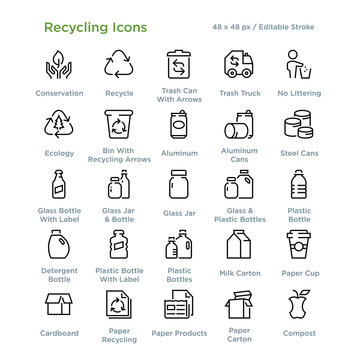 Recycling Icons - Outline styled icons, designed to 48 x 48 pixel grid. Editable stroke.