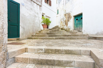 Specchia, Apulia - Walking up a historic stairway in the old town of Specchia