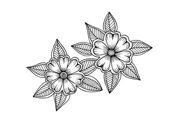 Page for coloring book. Outline flowers. Doodles in black and white
