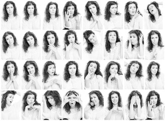 Set of emotional photos of a woman