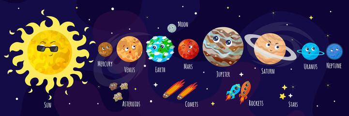 Obraz Vector illustration of space, universe. Cute cartoon planets, asteroids, comet, rockets. Kids illustration. - fototapety do salonu