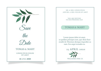 Greenery wedding invitation template with little green leaf