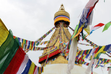 The colorful prayer flags of Boudhanath Stupa in Kathmandu