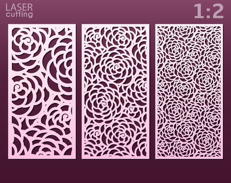 Laser and die cut ornamental panels template with pattern of peony flowers. Lazer cut card. Silhouette pattern. Cabinet fretwork panel. Lasercut metal panel. Wood carving.