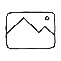 Hand drawn photo symbol doodle icon