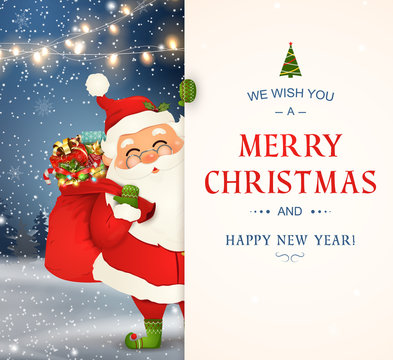 We Wish you a Merry Christmas. Happy new year. Santa Claus character with big signboard. Merry Santa Clause with jingle bell. Holiday greeting card with Christmas snow. Isolated vector illustration.
