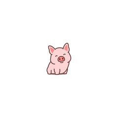 Cute pig smiling cartoon icon, vector illustration