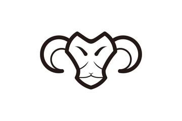 mono line sheep, goat head logo