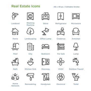 Real Estate Icons - Outline styled icons, designed to 48 x 48 pixel grid. Editable stroke.
