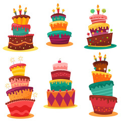 Collection Of Colourful Birthday Cakes