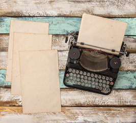 Vintage typewriter used paper sheets Flat lay still life