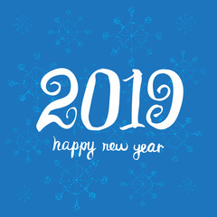 Greeting card design template. Happy new year 2019. Universal Hand drawn Vector background.