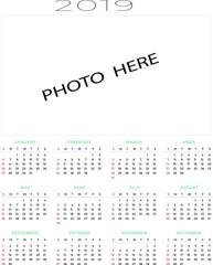 2019 calendar 2