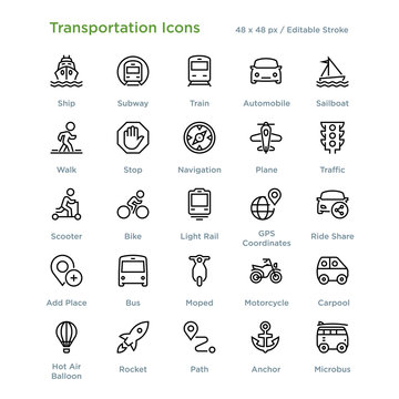 Transportation Icons - Outline styled icons, designed to 48 x 48 pixel grid. Editable stroke.