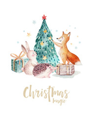Wall Mural - Watercolor gold Merry Christmas illustration with snowman, christmas tree , holiday cute animals fox, rabbit and hedgehog . Christmas celebration cards. Winter new year design.