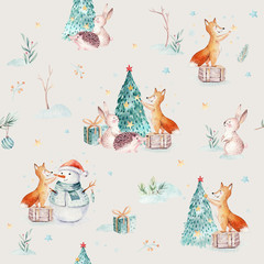 Wall Mural - Watercolor Merry Christmas seamless patterns with gift, snowman, holiday cute animals fox, rabbit and hedgehog. Christmas tree celebration paper. Winter new year design.