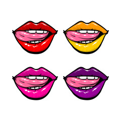 Open mouth woman lips tongue pop art style. Vector fashion kitsch cartoon sketch design. Wow modern glossy sensual kiss. Hot feminine background