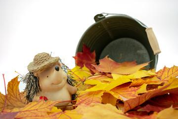 putziger Igel mit Strohhut steht in einem Blätterhaufen