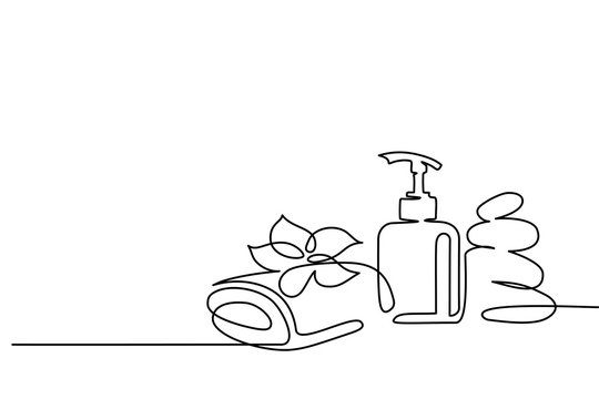 Continuous one line drawing. Spa cosmetic beautiful flower with towel, bottle and zen basalt stones. Vector illustration