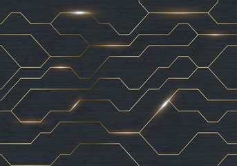 Seamless vector futuristic dark iron techno texture. Golden abstract electron energy line on brushed black metal background. Power vein light tech pattern
