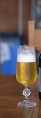 Closeup of sweaty glass of beer