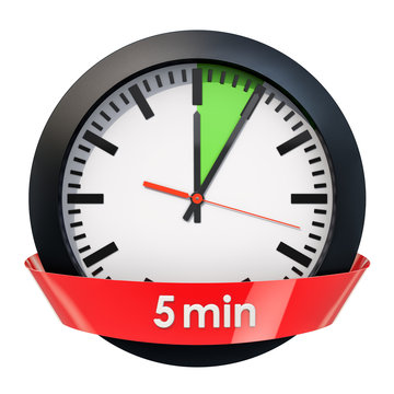 Clock face with 5 minutes timer. 3D rendering