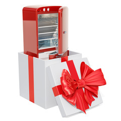 Refrigerator inside gift box, gift concept. 3D rendering