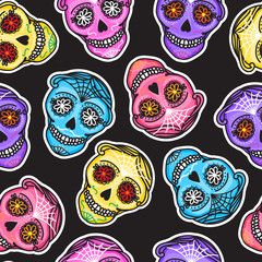 Seamless pattern color Calavera sign Dia de los muertos. Mexican Day of the dead. Vector hand drawing illustration man sticker.
