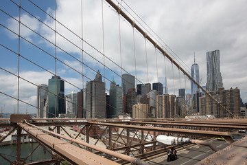 View from Brooklyn bridge to Lower Manhattna, NYC