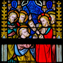 Fototapete - Stained Glass - Jesus and Saint Peter