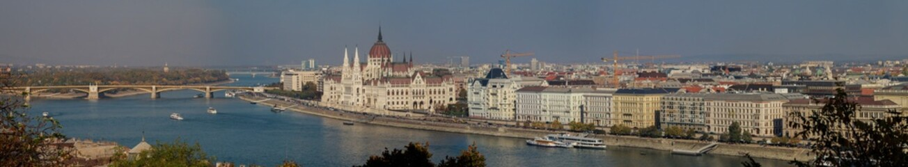 Panoramic view of Budapest city from Fisherman's Bastion over Pest, Danube river and Parliament Building Budapest, Hungary