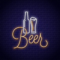 Beer neon banner. Bottle and beer glass neon sign on wall background