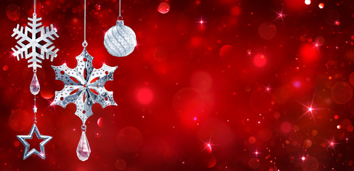 Fotomurales - Silver Baubles Hanging In Red Shiny Background