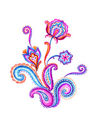 Bouquet of pattern Paisley, the composition of traditional oriental ornament, Indian buta print, watercolor illustration.