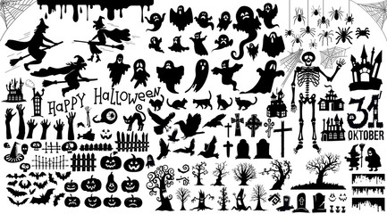 Set of halloween silhouettes black icon and character. Vector illustration. Isolated on white background.
