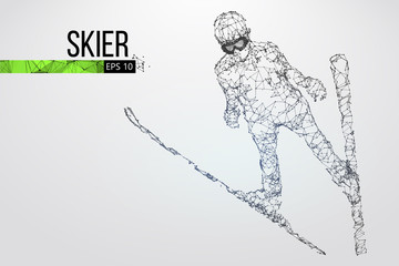 Silhouette of a skier jumping isolated. Vector illustration