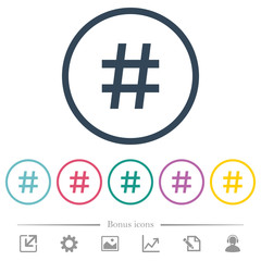 Hash tag flat color icons in round outlines